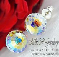 925 Silver Stud Earrings Disco Ball 10mm - Crystal AB Crystals from Swarovski®