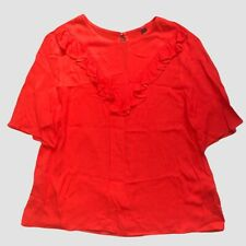 Nobody's Child Asos Orange Red Short Sleeve Frill Top 10 - B68