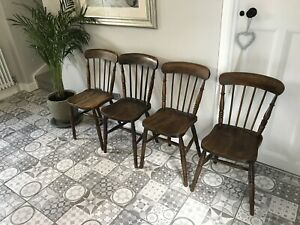 4 Antique Elm Provincial Spindle Back Kitchen/Dining Chairs