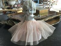 Antique Vintage Bisque Porcelain Doll with Movable Arms Pink Tulle~Satin Dress