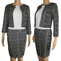 New Ladies Womens Check Hounds Tooth Tartan  3/4 Sleeve Jacket Blazer and skirt