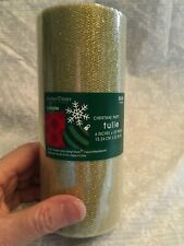 Tulle roll  6 inches x 25 yards.  Gold. Christmas Party. New in roll.  Brother