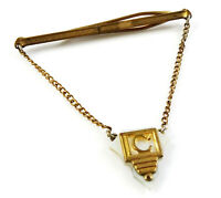 Nu-Lok Vintage Tie Chain Letter C Initial Pendant Mother of Pearl White Goldtone