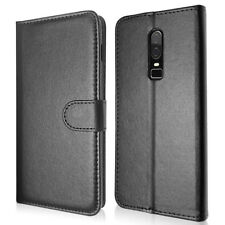 SDTEK PU Leather Wallet Flip Cover Case for OnePlus 6 (Black)