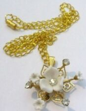 pendentif chaine bijou vintage fleur blanche cristal diamant couleur or * 4827
