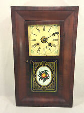 Antique New Haven Ogee Shelf Clock w/ Alarm  Running Mahogany Case