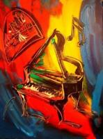 PIANO  JAZZ modern abstract     Large Abstract Modern Original Oil Painting