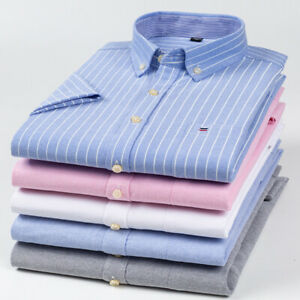 Mens Dress Shirts Short Sleeves Casual Slim Camisas Striped Oxford Cotton Shirts