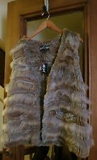 NWT Lord and Taylor hand knit rabbit and coyote fur vest M beige light brown