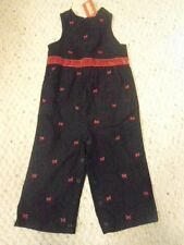 NWT Gymboree Holiday Friends 18 24 M Black Corduroy Red Bow Romper One Piece