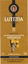 Etiquette de vin - Vin de pays d'Oc - Princesse de LUTETIA - Grenache - 2011