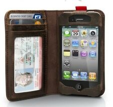 New Brown Luxury Deluxe Leather Book Wallet Cover Case For iPhone 4 & 4S