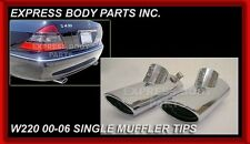 New Mercedes Benz 2000 - 2006 S Class Single Chrome Muffler Tips Pair S430 W220
