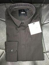 BNWT Mens Ex-Asos Black Slimfit Long Sleeve Button Cuff Shirt - Size XXS-XXXL