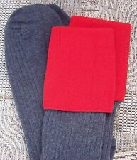 Boys Grey School knee socks Adult shoe size 4-7 with Cherry Red Top (TOT)