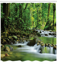Mountain Stream in a Tropical Rain Forest Wilderness Scene Shower Curtain Set