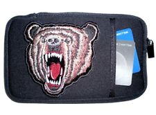 Mens Belt Biker Cell Phone Credit Card Case Grizzly Bear Patch Design