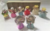 8-Vintage Christmas Cardboard Angels Glitter Japan Candles Musical Foil Wings