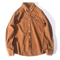 Men Harajuku Baggy Corduroy Shirt Retro Retro Long Sleeve Top Botton Down Soft