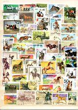 TIMBRES   lot de 50 timbres oblitérés chevaux.