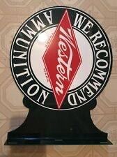 Western Ammunition Dealer Double Sided Flange Sign We Recommend USA Heavy Metal
