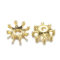 50pcs Alloy Filigree Flower Bead Caps More-Petal Smooth Gold Tone End Spacer 8mm