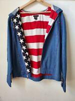 Vintage T & Company blue Denim Hooded  Flag lined srawstring Jacket Zip Up sz L