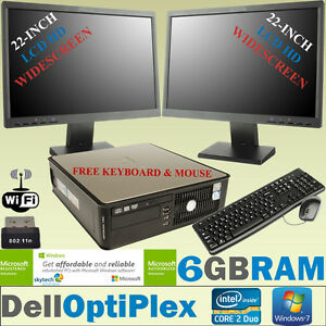 """FAST DELL FULL SET COMPUTER 2x 22"""" HD LCD MONITOR CHEAP DAY TRADING PC WiFi 6GB"""