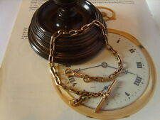 LARGE VICTORIAN 10CT ROSE GOLD/F FANCY LINK POCKET WATCH CHAIN/ALBERT. C~1890's.