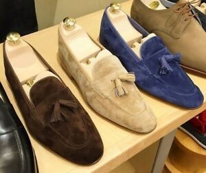 New Handmade Men's Tassel Loafer Brown Tan And Blue Suede Shoes, Men Dress Shoes