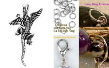 Dragon Fantasy Lizard Silver Charm For Bracelet Traditional Dangle Clasp Lobster