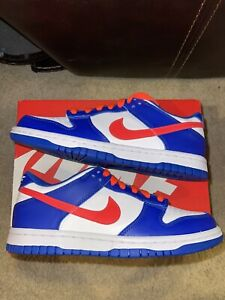 Nike Dunk Low Bright Crimson Game Royal Gs Sz 4.5y (6W) Brand New 100% Authentic