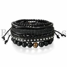 4pcs Black Tribal Stud Leather Beaded Cuff Wristband Bracelets for Men Women