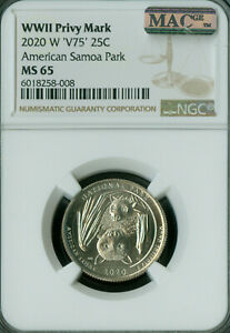 2020-W AMERICAN SAMOA QUARTER MS-65 PQ PRIVY MARK MAC SPOTLESS .
