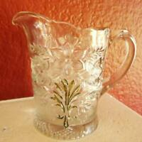 """Glass Creamer Floral Pattern Clear Pressed Glass Daffodils Vintage 5"""" Tall"""