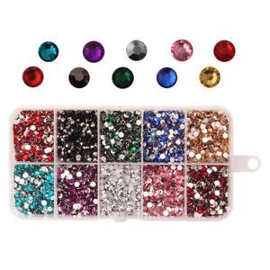 9000x Colored Rhinestone Round Flatback Diamante Art Craft Gems DIY Scrapbooking
