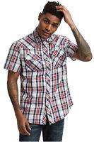 True Religion Men's Plaid Western Short Sleeve Front Button Shirt in Indigo Sail