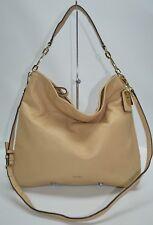 Coach Madison Pebble Leather Zip Shoulder Bag Convertible Tan 27858