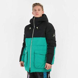 Nike Air Jordan Down fill Parka Jacket Men's Loose-Fit Black Teal CK6661-011