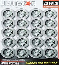 20 Pack x Satin Chrome Gimbal Downlight Fittings 240V GU10 Gimble Silver