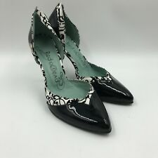 Black Ivory Patent Court Shoes UK5 RED OR DEAD High Stiletto Heel Point Toe S245