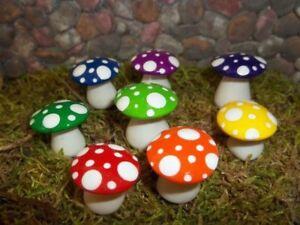 Set Of 8 miniature fairy garden accessories mushrooms toadstools Rainbow