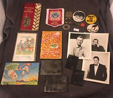 Junk Drawer Lot Advertising PinBacks Tintypes JFK Half Dollar Keychain More #11