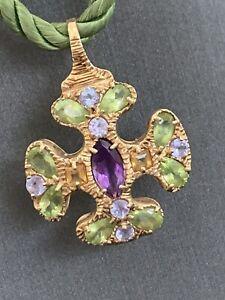 "14k Yellow Gold Gemstone Maltese Cross Amethyst Peridot Tanzanite Necklace 17"""