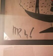 Surrealist Erotic drawing on albumen paper, signed mr and dated 46