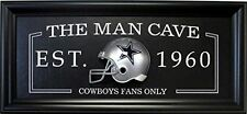 Dallas Cowboys FANS ONLY Man Cave Sign framed w/ 3D football Mini Helmet 27x13