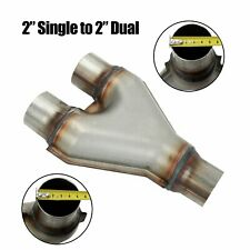 """Y Pipe 2"""" Single to 2"""" Dual Adapter Connector T409 Stainless  Exhaust Stamped"""
