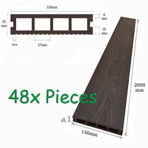 WATSUN™ 48pc Set Outdoor WPC Composite Decking Board 15x2.5x200cm Brown Colour
