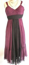 BCBG Dress Burgundy Black Silk Cocktail Baby doll S-Small 6  *1008