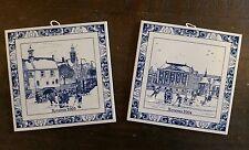 """VTG Delft Blue Tile SCHOONHOVEN KERAMIEK Holland """"Kerstmis"""" 2003/ 2004, Set of 2"""